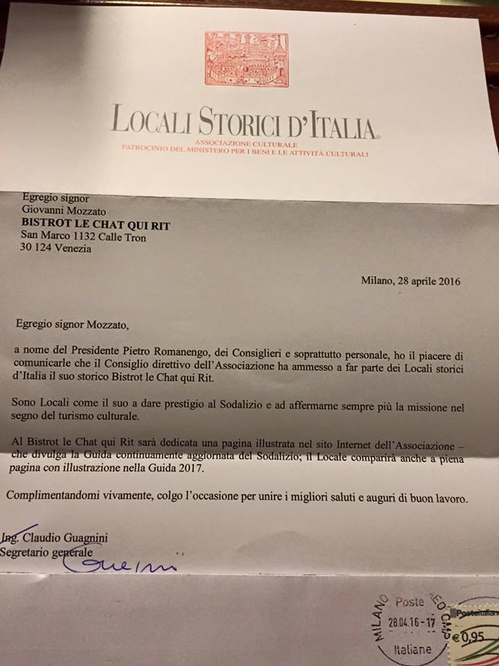 Il prestigio di rientrare fra i Locali Storici d'Italia.