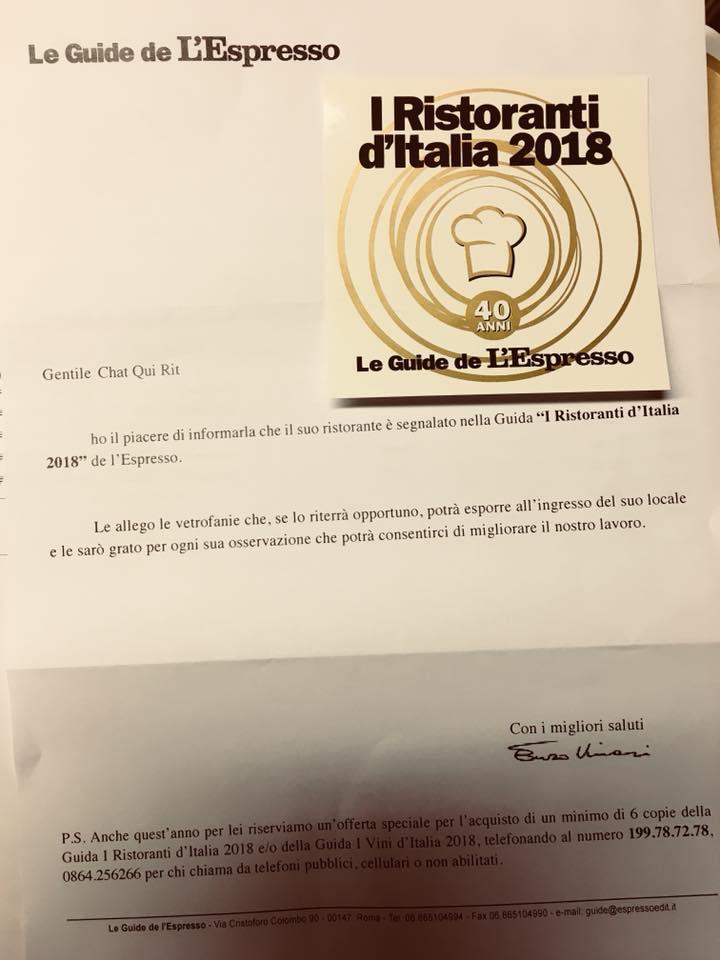 """Chat Qui Rit segnalato nella Guida """"I Ristoranti d'Italia 2018"""""""