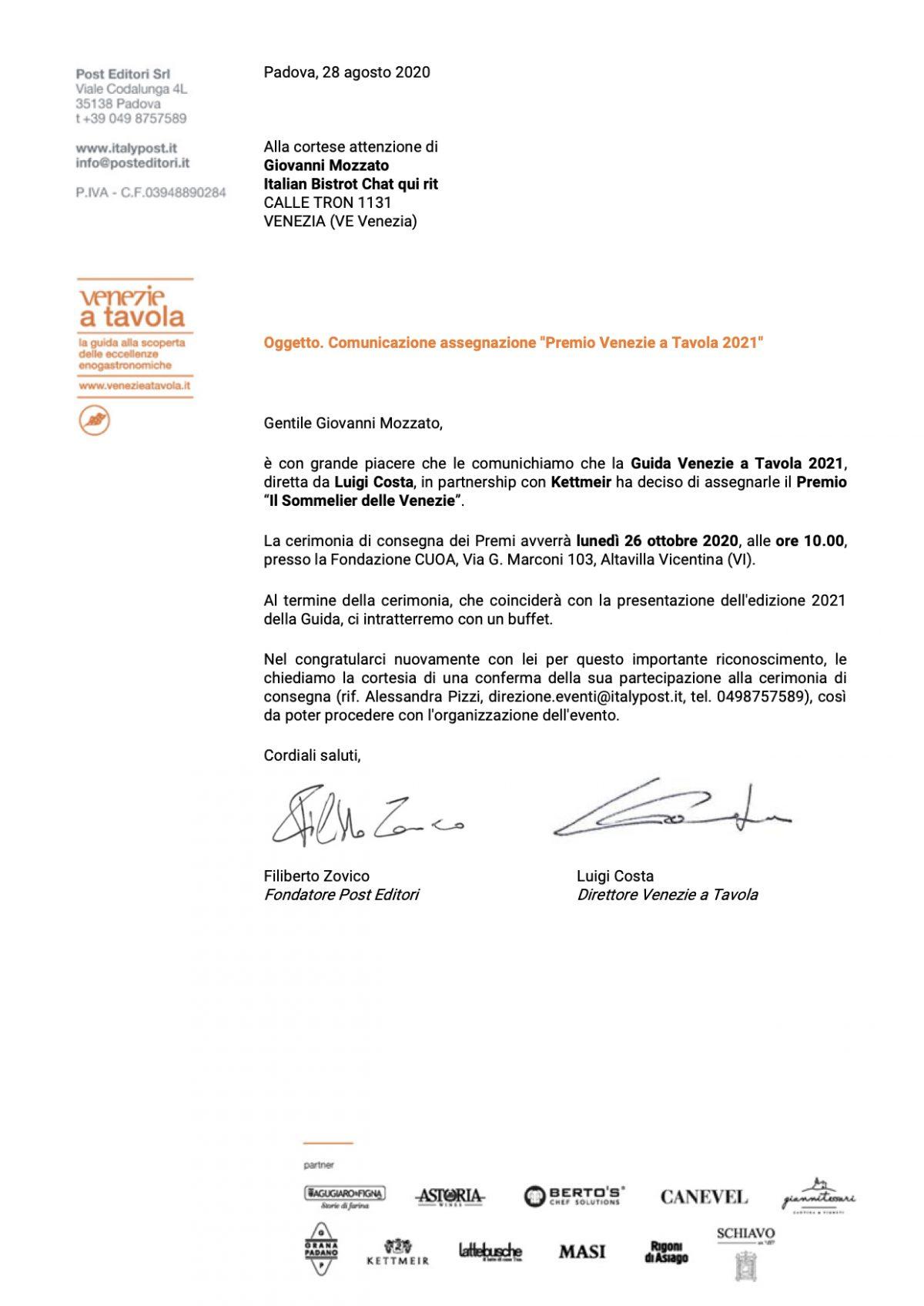 "Giovanni Mozzato: il Sommelier delle Venezie ""Premio Venezie a Tavola 2021"""