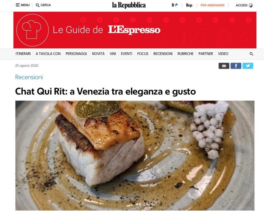 La Repubblica: Chat Qui Rit a Venezia tra eleganza e gusto